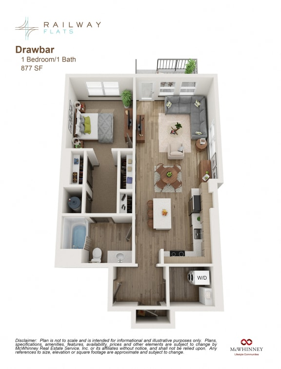 Floor Plan  Drawbar Floor Plan - 1 Bed/1 Bath