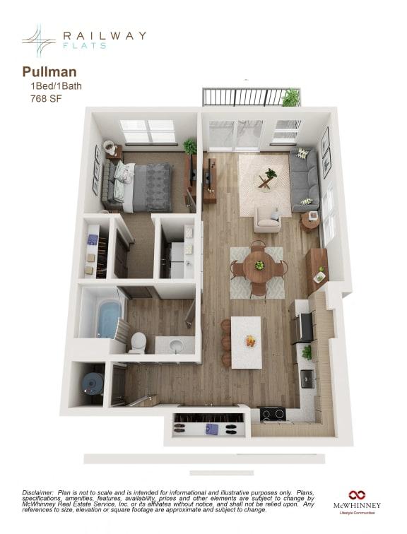 Pullman Floor Plan - 1 Bed/1 Bath