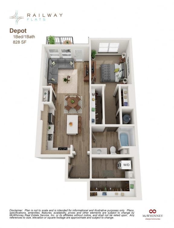 Floor Plan  Depot Floor Plan - 1 Bed/1 Bath