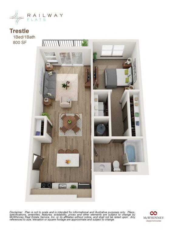 Trestle Floor Plan - 1 Bed/1 Bath