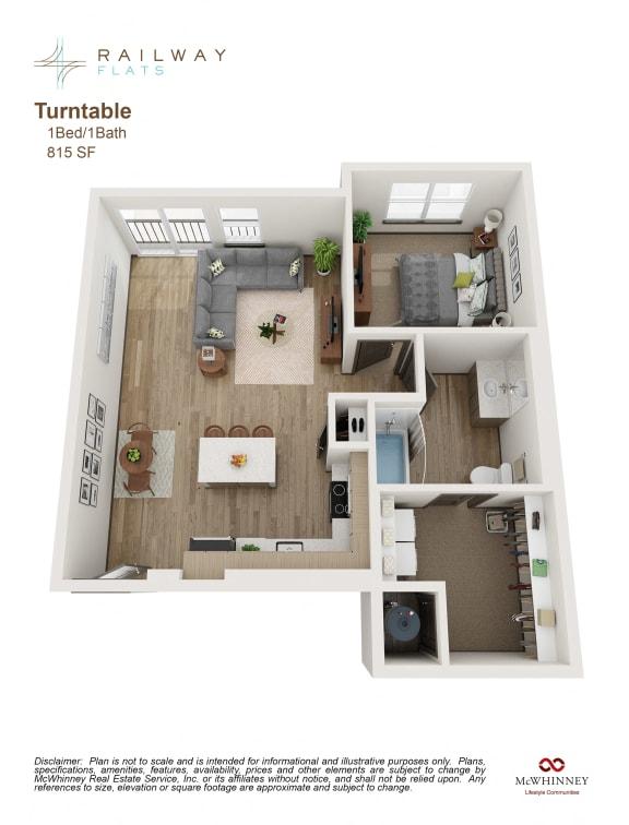 Floor Plan  Turntable Floor Plan - 1 Bed/1 Bath