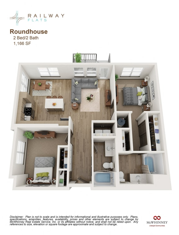Floor Plan  Roundhouse Floor Plan - 2 Bed/2 Bath