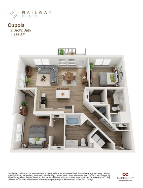Floor Plan  Cupola Floor Plan - 2 Bed/2 Bath