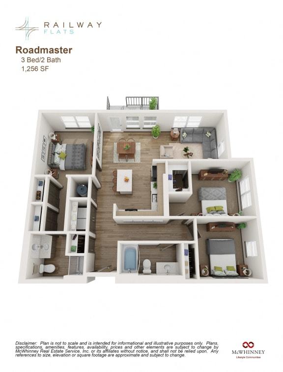 Roadmaster Floor Plan - 3 Bed/2 Bath