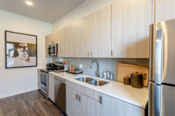 Fully Equipped Eat-In Kitchen at Railway Flats Apartments, Loveland, CO