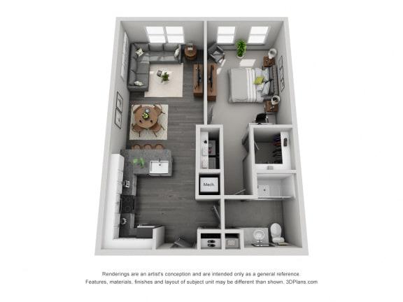 Floor Plan  1c10 Floor Plan at 1400 Chestnut, Chattanooga, Tennessee