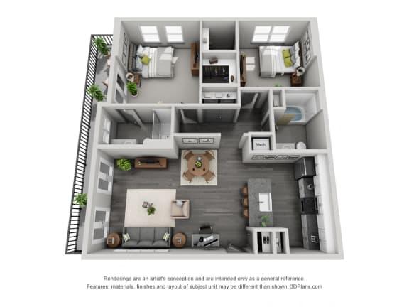 Floor Plan  2a20 Floor Plan at 1400 Chestnut, Tennessee