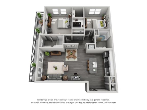 Floor Plan  2b20 Floor Plan  at 1400 Chestnut, Chattanooga, Tennessee