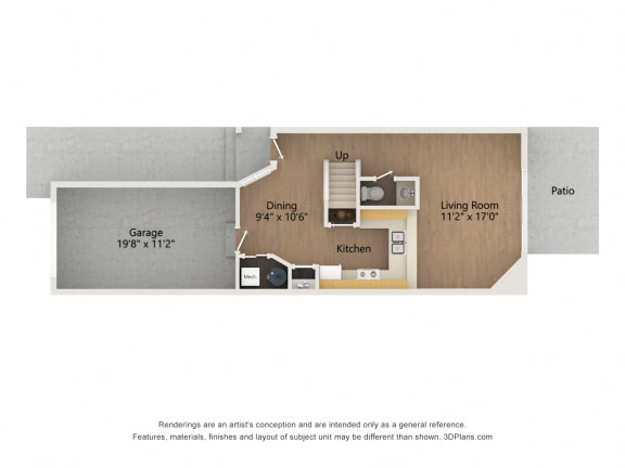 Two story townhome floor plan image of level 1