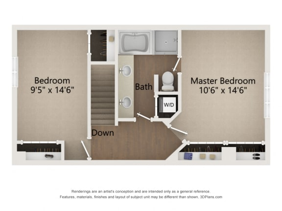 Two story townhome floor plan image of level 2