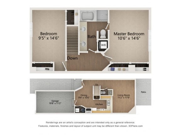 Floor Plan  Two Story Townhome floor plan image of levels 1 and 2
