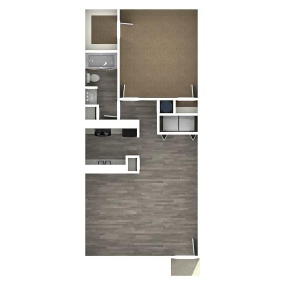 Floor Plan  1 Bedroom | 1 Bath D