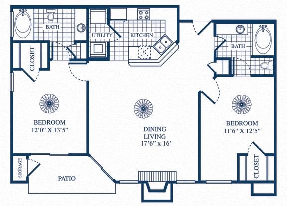 Floor Plan  B1 floorplan at Tivoli Apartments in Dallas, Texas