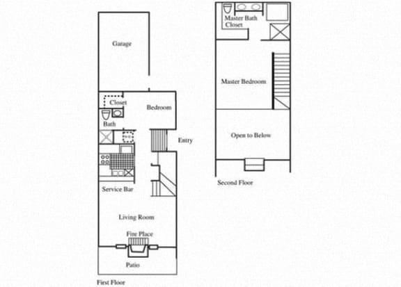 Floor Plan  TH1 floorplan at Tivoli Apartments in Dallas, Texas