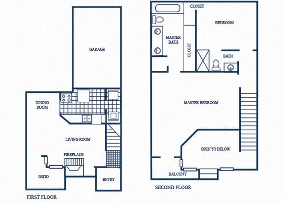 Floor Plan  TH2 floorplan at Tivoli Apartments in Dallas, Texas