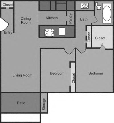 2 Bedroom 1 Bathroom Floorplan