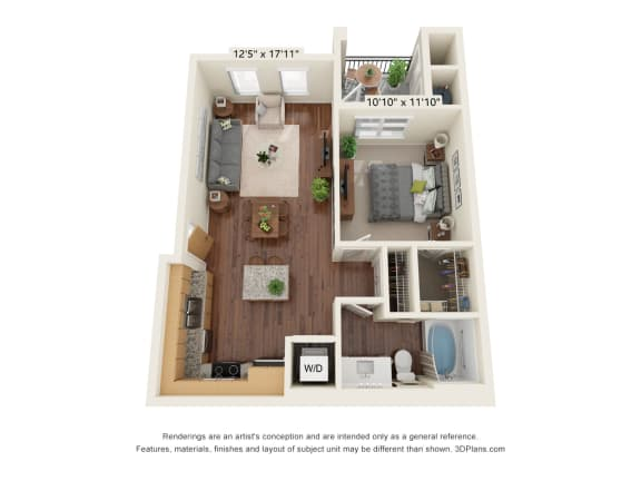 Floor Plan  Scharbauer Flats_1 Bedroom Floor Plan_A1