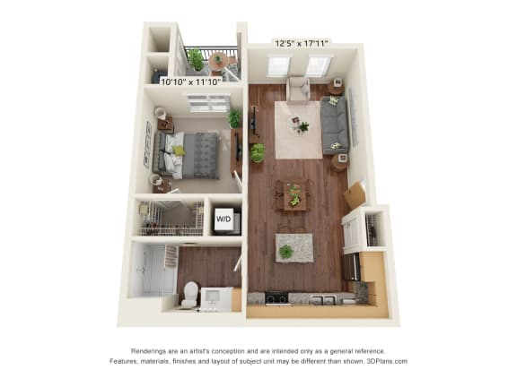 Floor Plan  Scharbauer Flats_1 Bedroom Floor Plan_A1-ADA