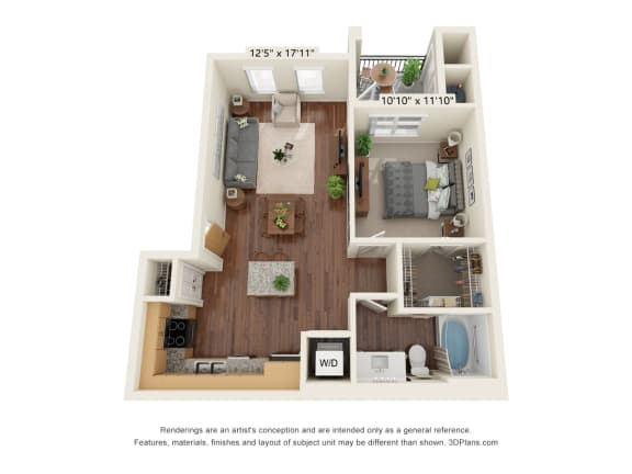 Floor Plan  Scharbauer Flats_1 Bedroom Floor Plan_A2