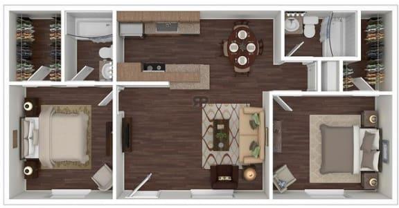 Floor Plan  2 Bed | 2 Bath B