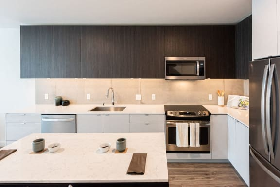 Kitchen With White Counter tops, Dark Cabinetry, and stainless steel appliances at 10 Clay Apartments in Seattle, Washington