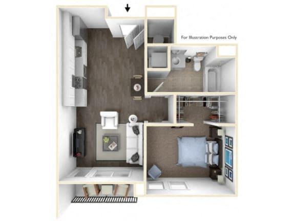 Floor Plan  275.1B-C 3D Floor Plan at The George & The Leonard, Georgia