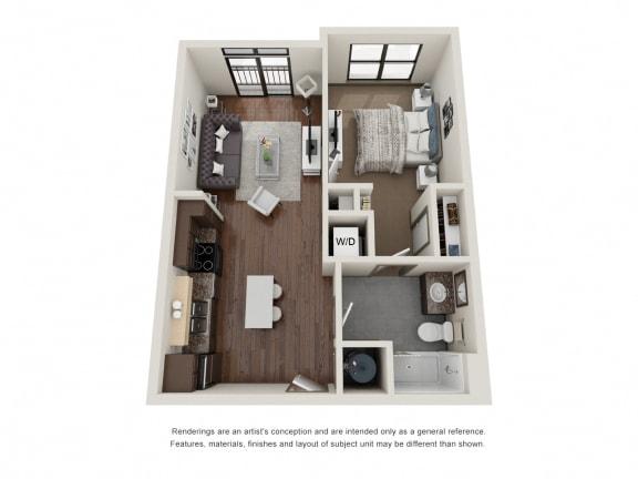 Floor Plan  301.1B Floor Plan Layout at The George & The Leonard, Atlanta, 30312