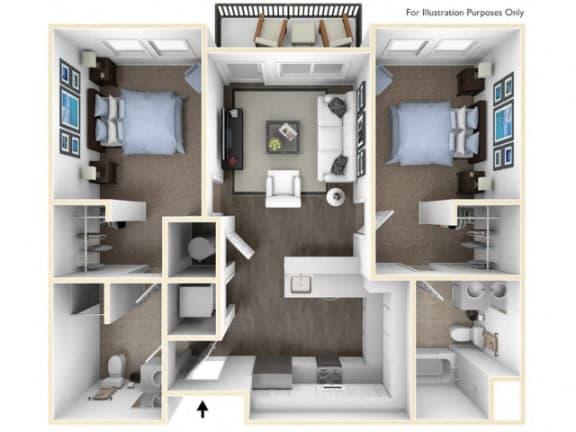 Floor Plan  275.2B-A 3D Floor Plan at The George & The Leonard, Atlanta