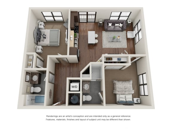 Floor Plan  301.2B Floor Plan Layout at The George & The Leonard, Atlanta, GA