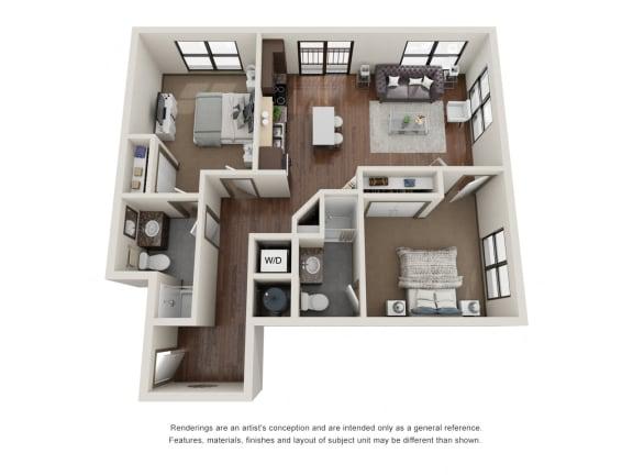 Floor Plan  301.2D Floor Plan Layout at The George & The Leonard, Atlanta, GA