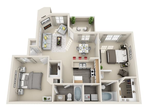 Two Bedroom B1 Floor Plan at Village at Desert Lakes