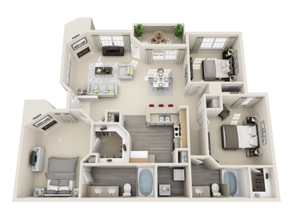Three Bedroom C2 Floor Plan at Village at Desert Lakes, Las Vegas, Nevada