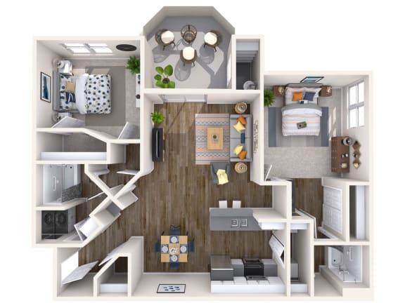 Coral Renovated 3D Floor Plan at Biscayne Bay Apartments, Arizona