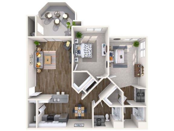 Diamond Renovated 3D Floor Plan at Biscayne Bay Apartments, Arizona, 85225