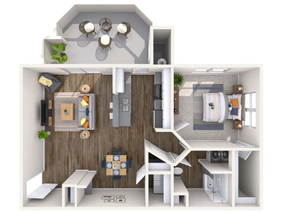 Pearl Renovated 3D Floor Plan at Biscayne Bay Apartments, Chandler