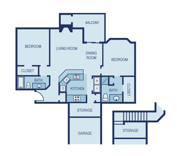 B2 Floor Plan at The Jax Apartments,  Clear Property Management, San Antonio, TX, 78230