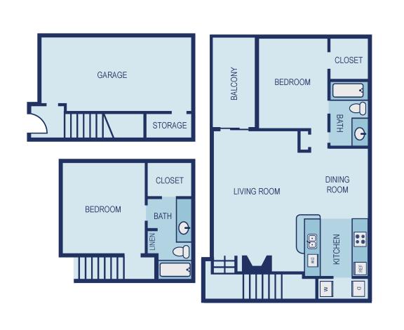 B3G Floor Plan at The Jax Apartments, Clear Property Management, San Antonio, TX
