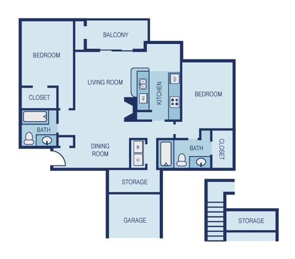 B4 Floor Plan at The Jax Apartments, Clear Property Management, San Antonio, Texas