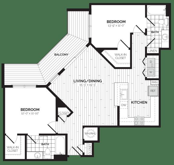 B2 Floor Plan at Rivergate, Woodbridge