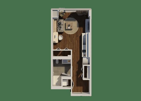 Floor Plan  Studio Style 4 Apartment Floor Plan at Eleven40, Chicago, Illinois