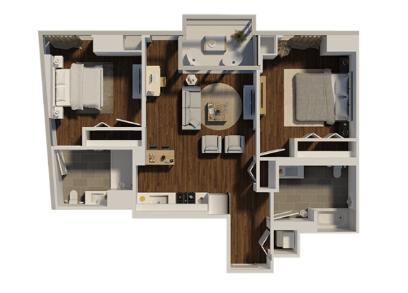 Floor Plan  Two Bedroom Style 1 Apartment Floor Plan at Eleven40, Chicago, IL, 60605