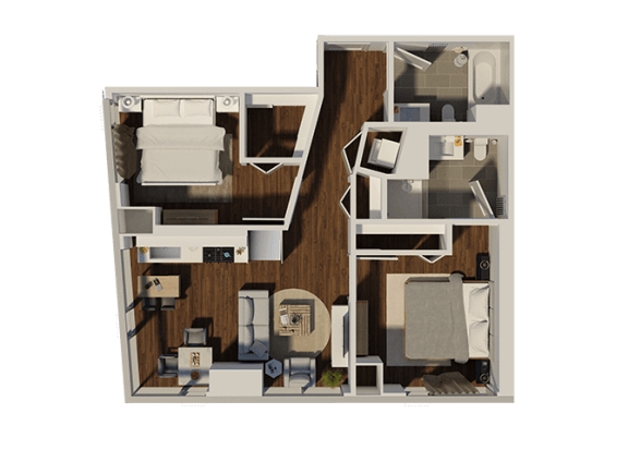 Floor Plan  Two Bedroom Style 4 Apartment Floor Plan at Eleven40, Chicago
