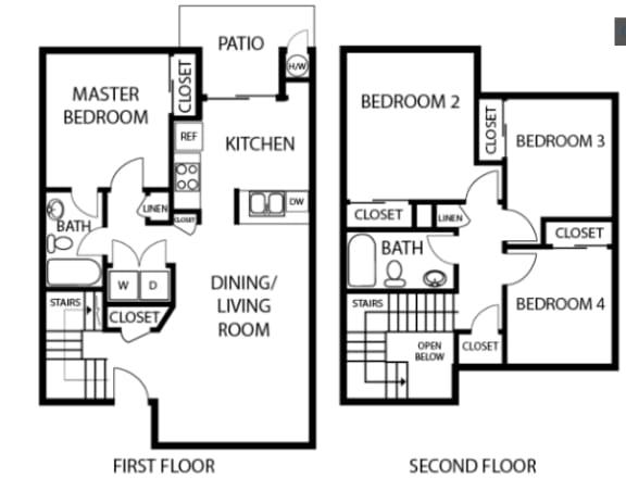 4X2 floor plans available at Vizcaya Apartments in Santa Maria, CA