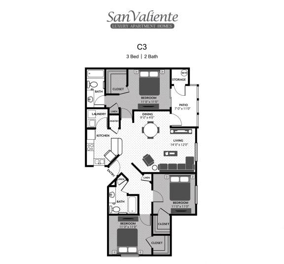 Floor Plan  San Valiente : C3 Floorplan : 3B/2B