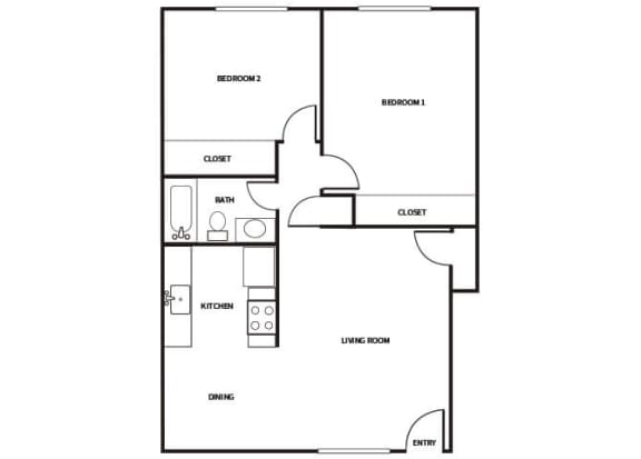 Floor Plan  B2 Floor plan at Park Villas Apartments in National City CA