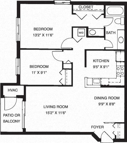 2 Bedroom 2 Bathroom Floor Plan at Waterside at Reston, Reston, VA, 20194