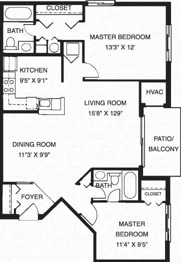2 Bed 2 Bath Floor Plan at Waterside at Reston, Reston, VA