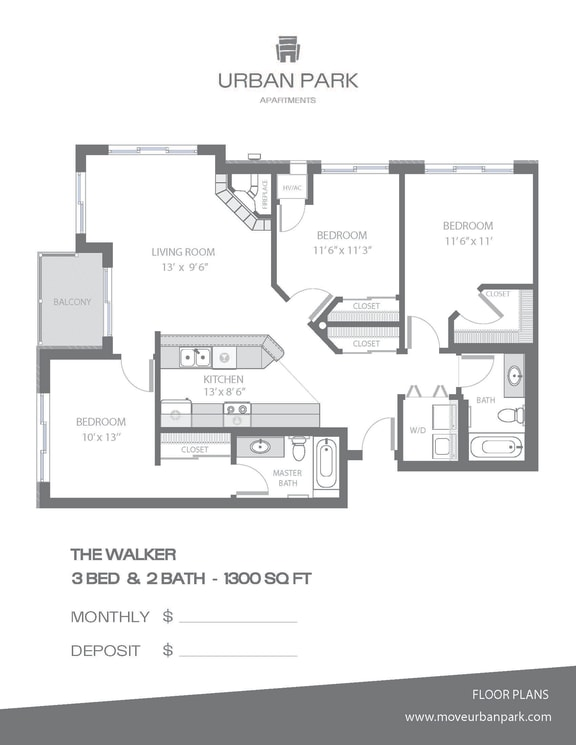 The Walker 3 bedroom 2 bath floor plan 1300 square feet