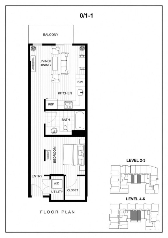 BLU Bellevue Apartments 0x1 1 Floor Plan