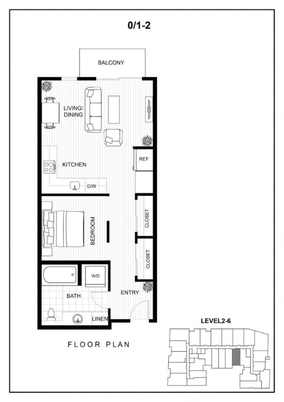 BLU Bellevue Apartments 0x1 2 Floor Plan